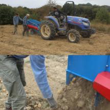 Cette année, on a pu tester un nouveau système pour sortir les patates de terre.